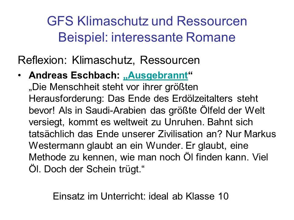 GFS Klimaschutz und Ressourcen Beispiel: interessante Romane