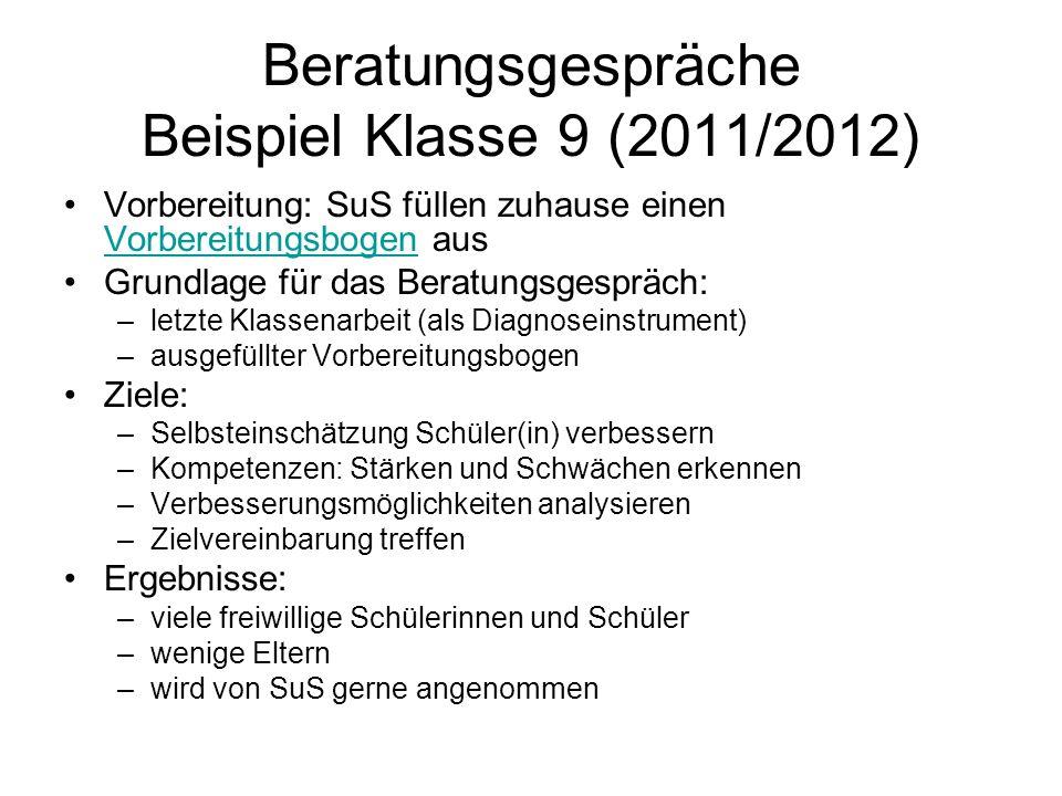 Beratungsgespräche Beispiel Klasse 9 (2011/2012)
