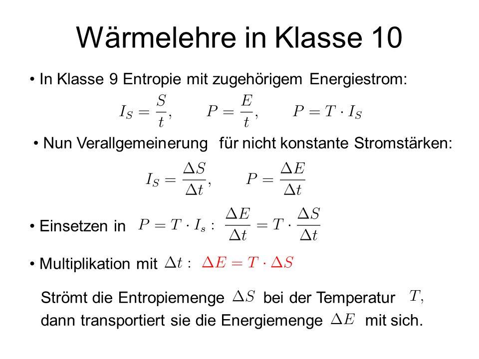 Wärmelehre in Klasse 10 In Klasse 9 Entropie mit zugehörigem Energiestrom: Nun Verallgemeinerung für nicht konstante Stromstärken: