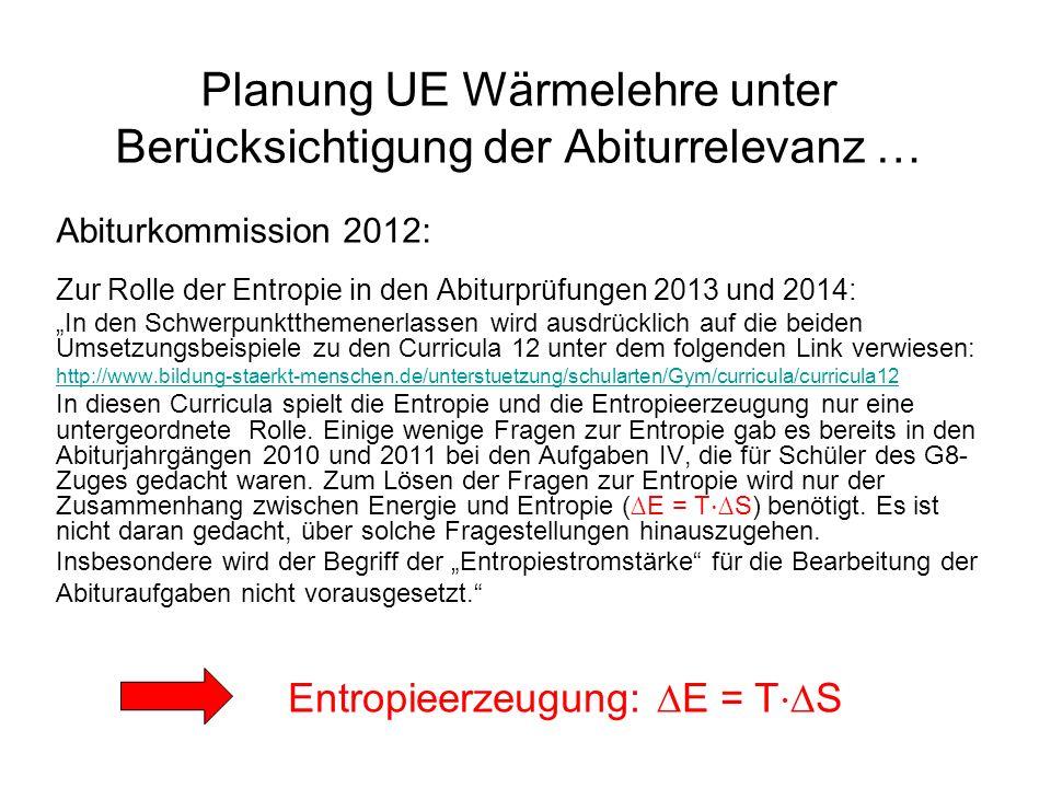 Planung UE Wärmelehre unter Berücksichtigung der Abiturrelevanz …