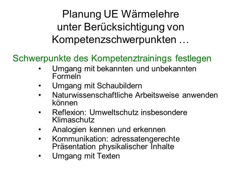 Planung UE Wärmelehre unter Berücksichtigung von Kompetenzschwerpunkten …