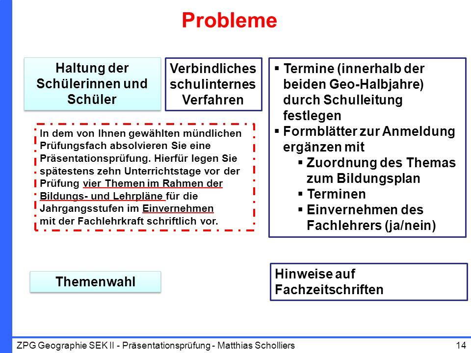 Probleme Haltung der Schülerinnen und Schüler