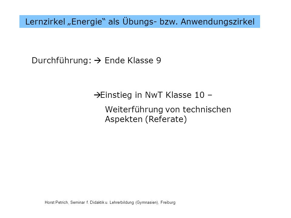 """Lernzirkel """"Energie als Übungs- bzw. Anwendungszirkel"""