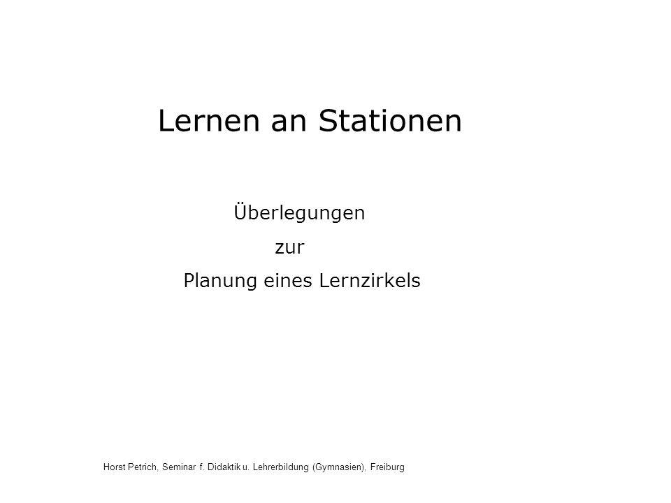 Lernen an Stationen Überlegungen zur Planung eines Lernzirkels