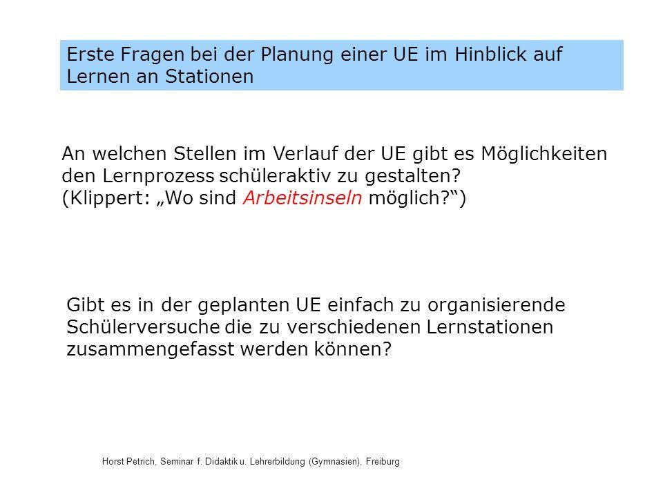 Erste Fragen bei der Planung einer UE im Hinblick auf Lernen an Stationen