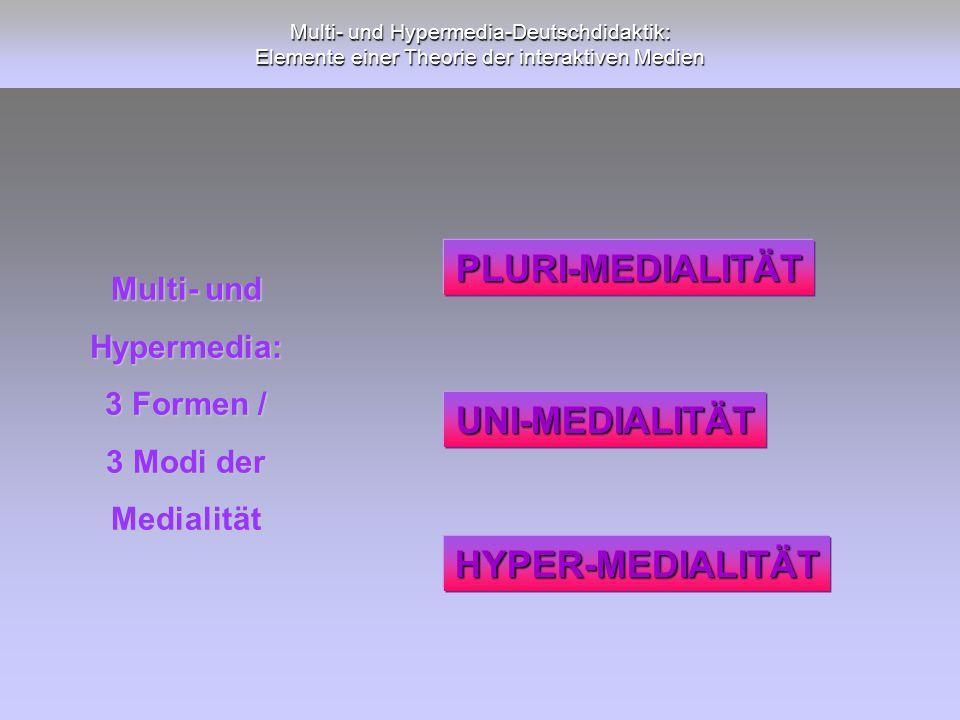 PLURI-MEDIALITÄT UNI-MEDIALITÄT HYPER-MEDIALITÄT