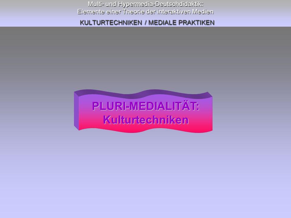 PLURI-MEDIALITÄT: Kulturtechniken