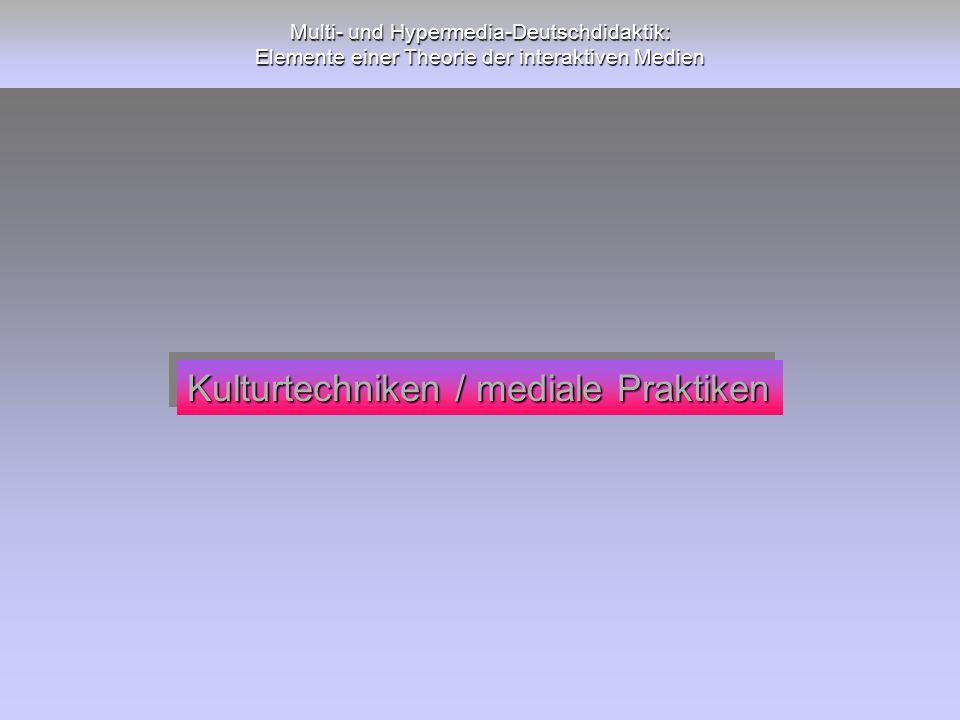 Kulturtechniken / mediale Praktiken