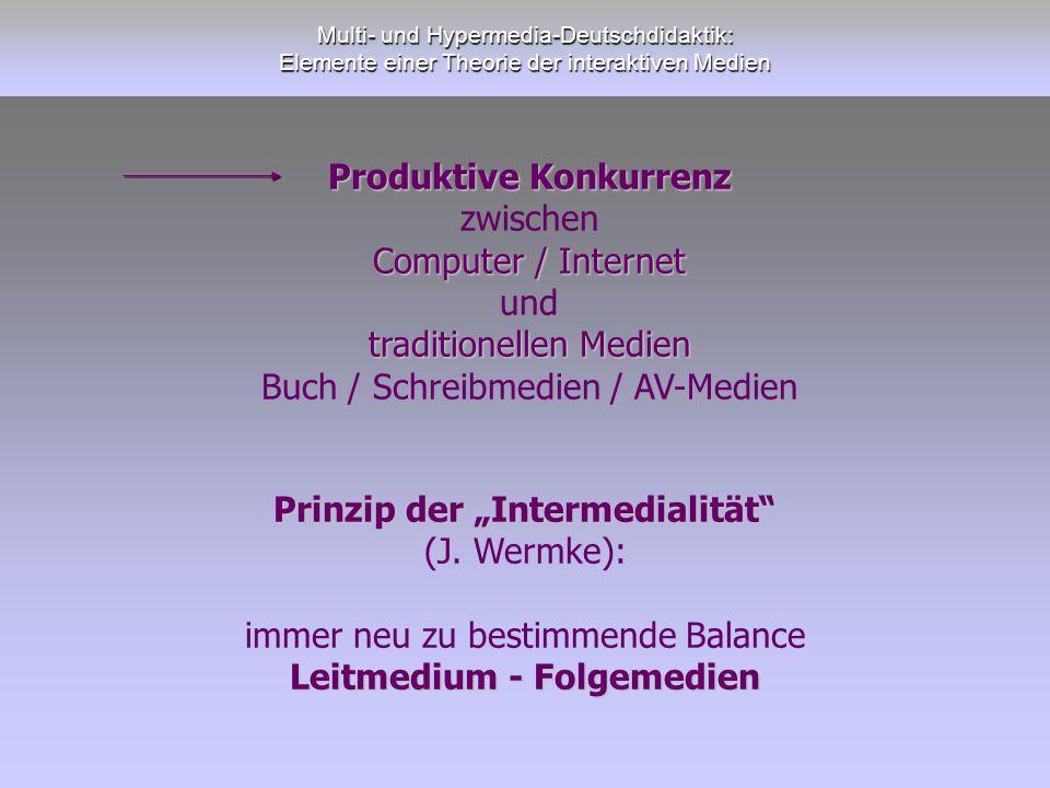 """Prinzip der """"Intermedialität Leitmedium - Folgemedien"""