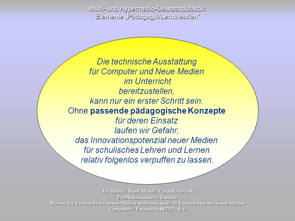Die technische Ausstattung für Computer und Neue Medien im Unterricht