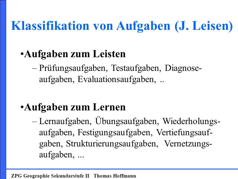 Klassifikation von Aufgaben (J. Leisen)
