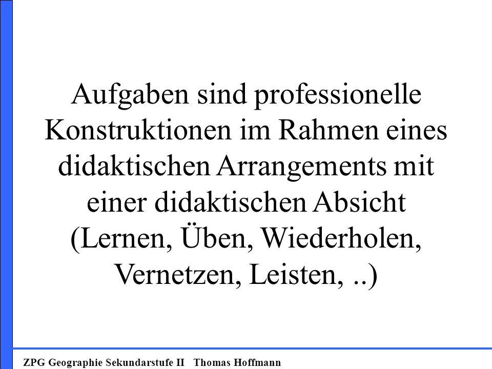 Aufgaben sind professionelle Konstruktionen im Rahmen eines didaktischen Arrangements mit einer didaktischen Absicht (Lernen, Üben, Wiederholen, Vernetzen, Leisten, ..)
