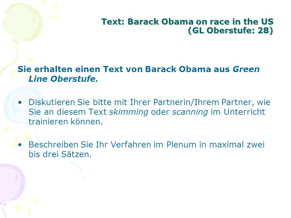 Text: Barack Obama on race in the US (GL Oberstufe: 28)
