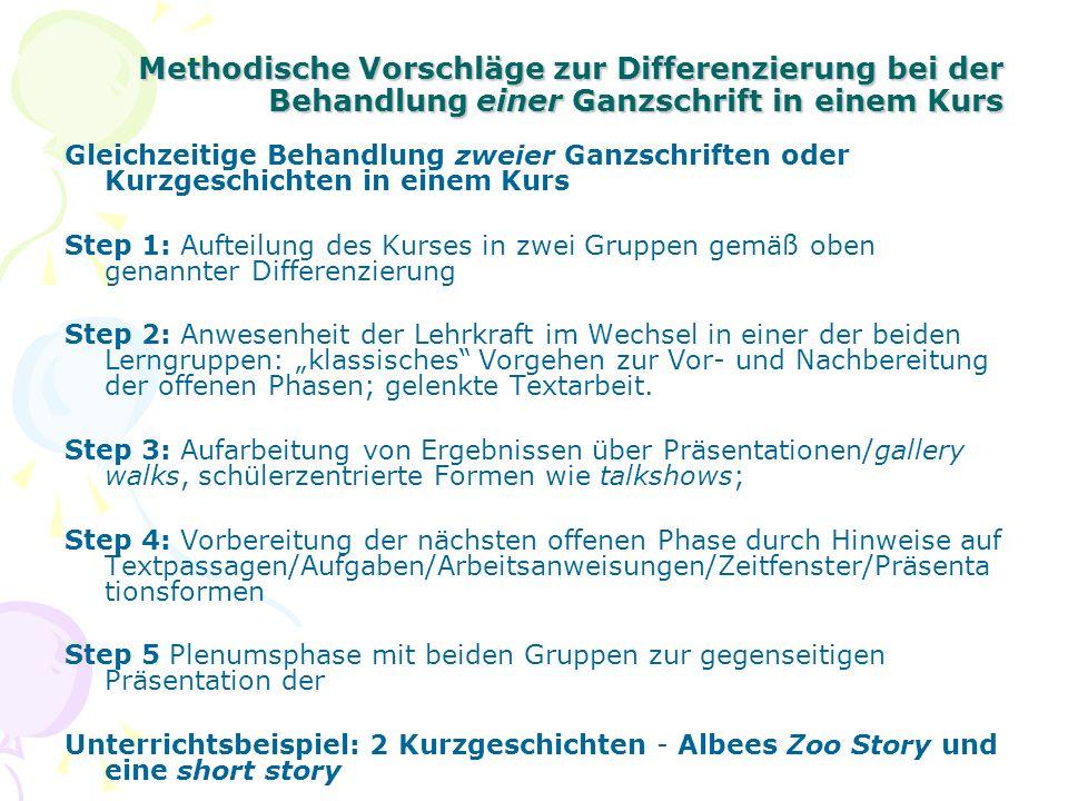 Methodische Vorschläge zur Differenzierung bei der Behandlung einer Ganzschrift in einem Kurs