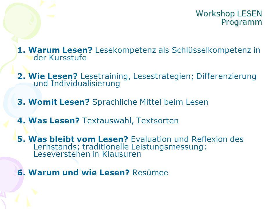 Workshop LESEN Programm