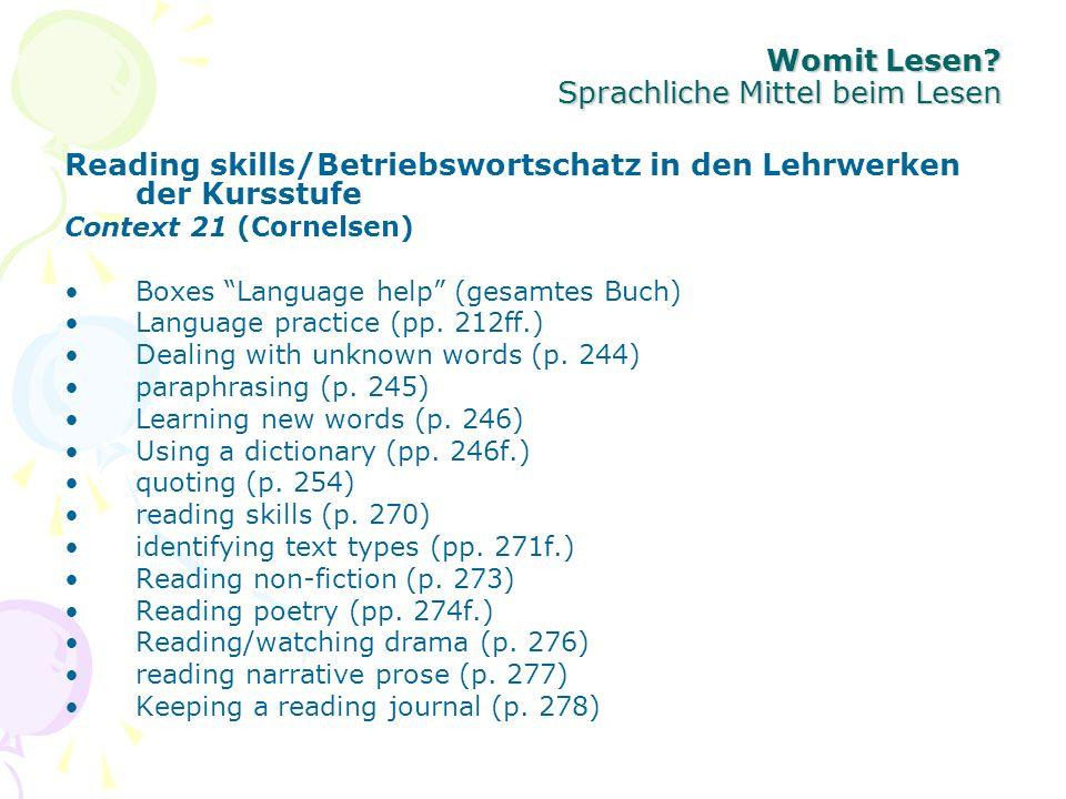 Womit Lesen Sprachliche Mittel beim Lesen