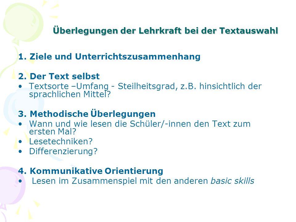 Überlegungen der Lehrkraft bei der Textauswahl
