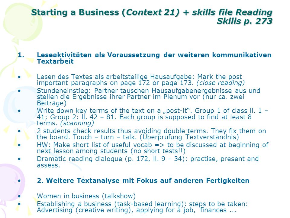 Starting a Business (Context 21) + skills file Reading Skills p. 273