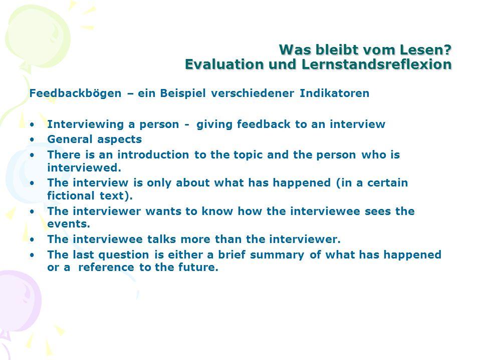 Was bleibt vom Lesen Evaluation und Lernstandsreflexion