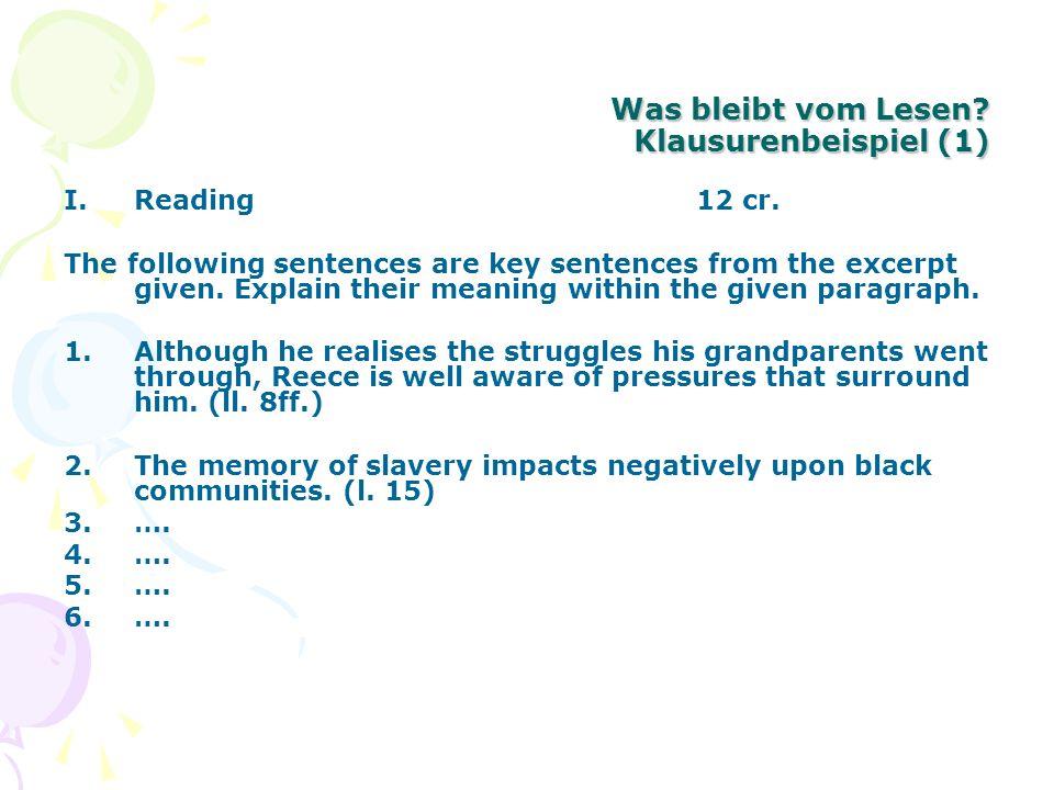 Was bleibt vom Lesen Klausurenbeispiel (1)