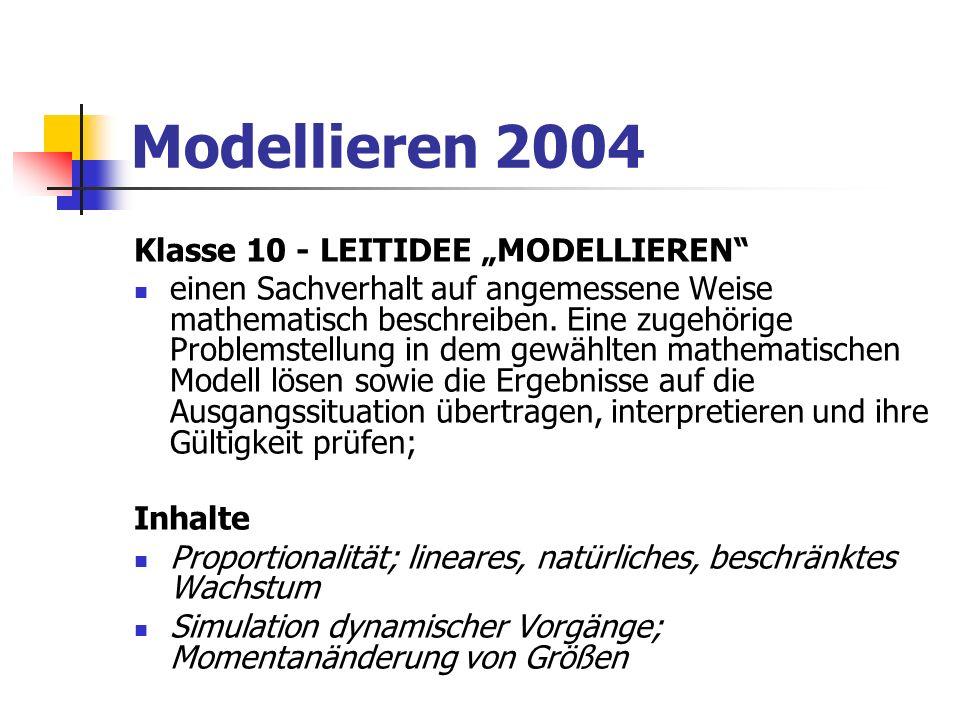 """Modellieren 2004 Klasse 10 - LEITIDEE """"MODELLIEREN"""