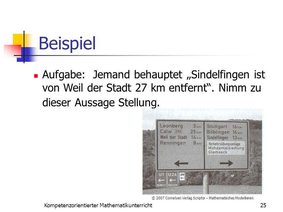 """Beispiel Aufgabe: Jemand behauptet """"Sindelfingen ist von Weil der Stadt 27 km entfernt . Nimm zu dieser Aussage Stellung."""