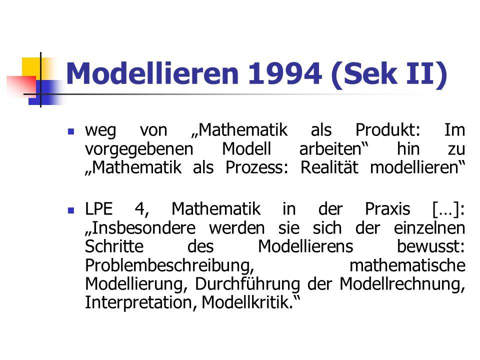 """Modellieren 1994 (Sek II)weg von """"Mathematik als Produkt: Im vorgegebenen Modell arbeiten hin zu """"Mathematik als Prozess: Realität modellieren"""