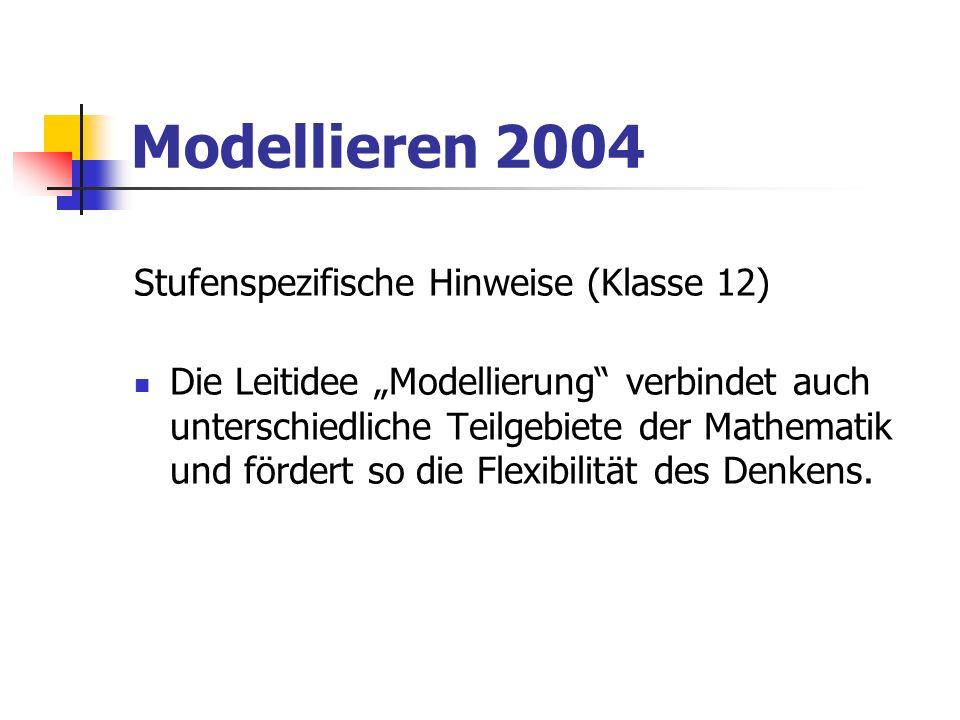 Modellieren 2004 Stufenspezifische Hinweise (Klasse 12)