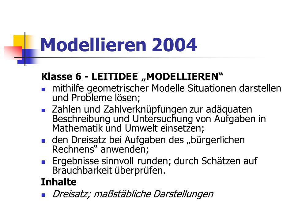 """Modellieren 2004 Klasse 6 - LEITIDEE """"MODELLIEREN"""