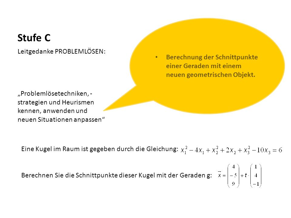 Stufe C Berechnung der Schnittpunkte einer Geraden mit einem neuen geometrischen Objekt. Leitgedanke PROBLEMLÖSEN: