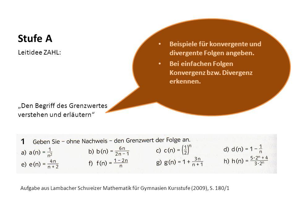 Stufe A Beispiele für konvergente und divergente Folgen angeben.