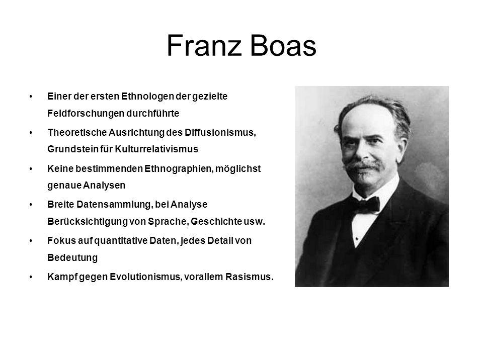 Franz Boas Einer der ersten Ethnologen der gezielte Feldforschungen durchführte.