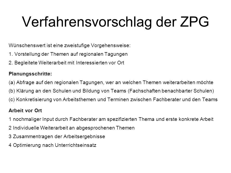 Verfahrensvorschlag der ZPG