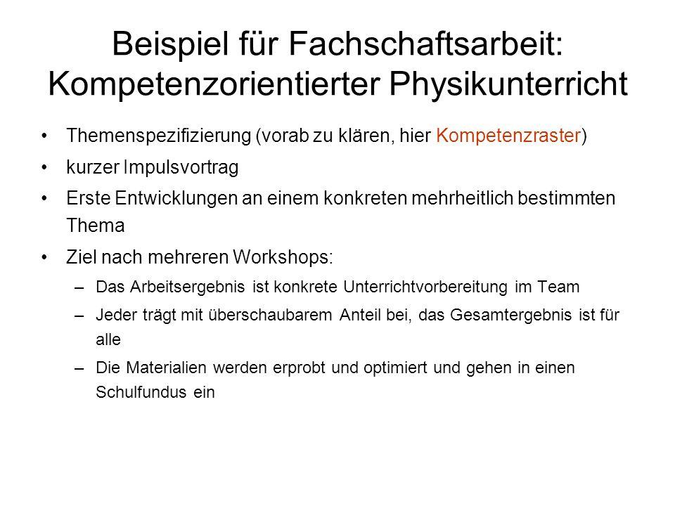 Beispiel für Fachschaftsarbeit: Kompetenzorientierter Physikunterricht