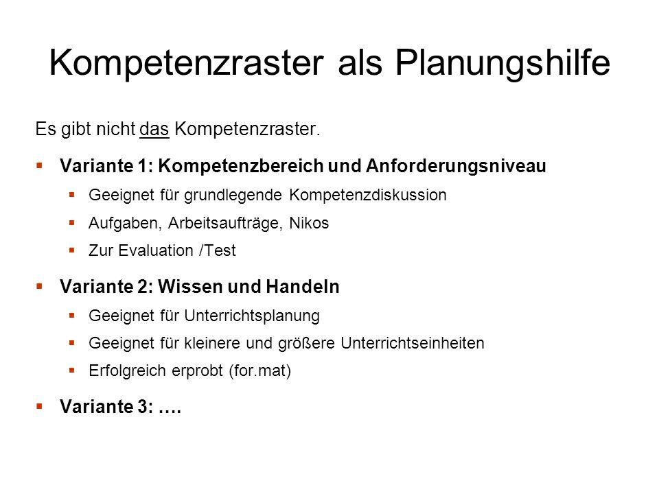 Kompetenzraster als Planungshilfe