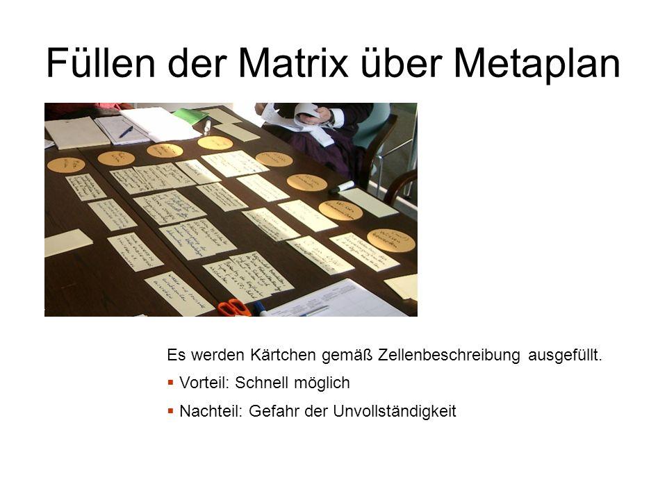 Füllen der Matrix über Metaplan