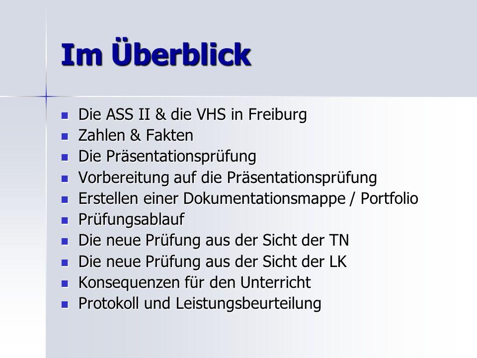 Im Überblick Die ASS II & die VHS in Freiburg Zahlen & Fakten