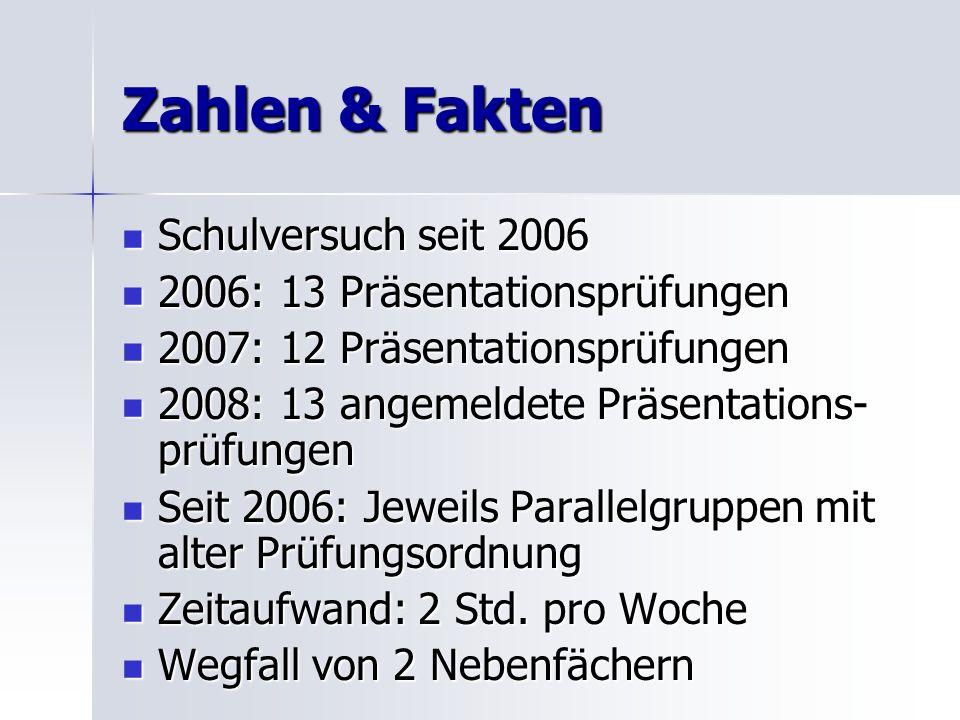 Zahlen & Fakten Schulversuch seit 2006 2006: 13 Präsentationsprüfungen