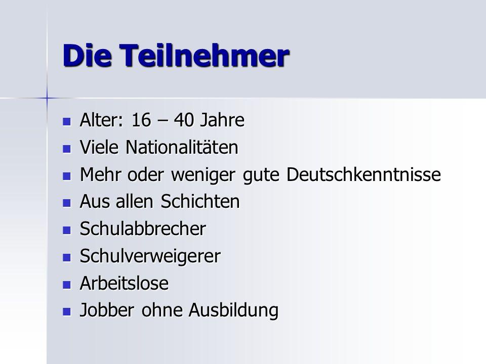Die Teilnehmer Alter: 16 – 40 Jahre Viele Nationalitäten