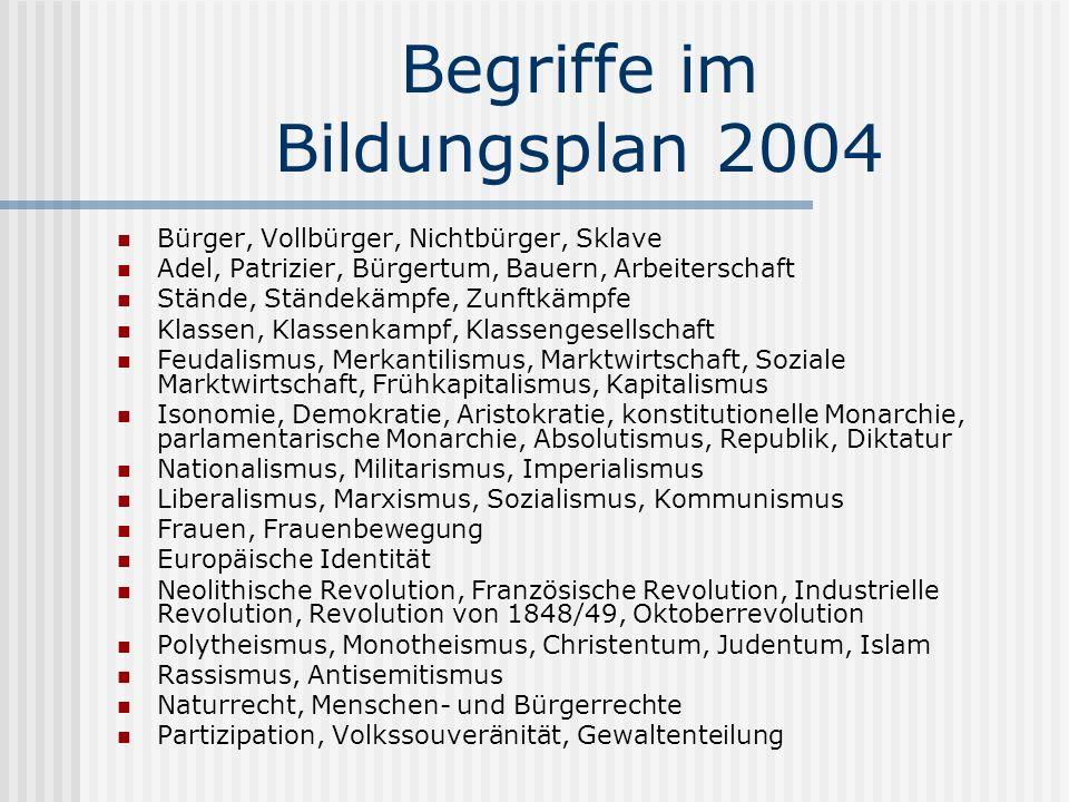 Begriffe im Bildungsplan 2004