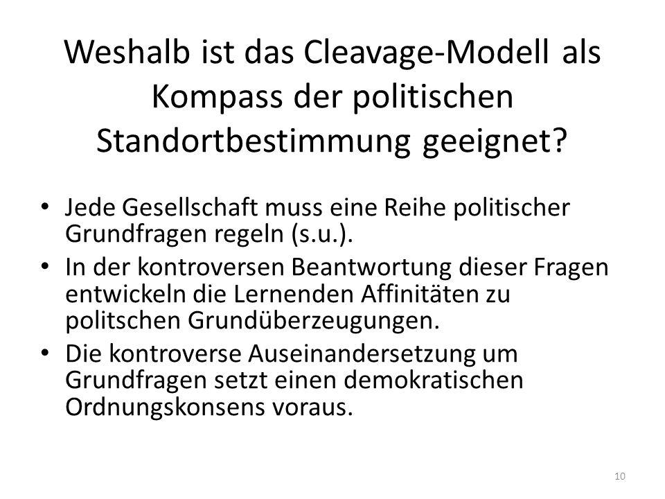 Weshalb ist das Cleavage-Modell als Kompass der politischen Standortbestimmung geeignet