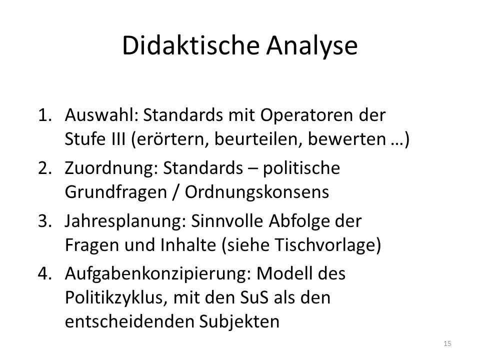Didaktische Analyse Auswahl: Standards mit Operatoren der Stufe III (erörtern, beurteilen, bewerten …)