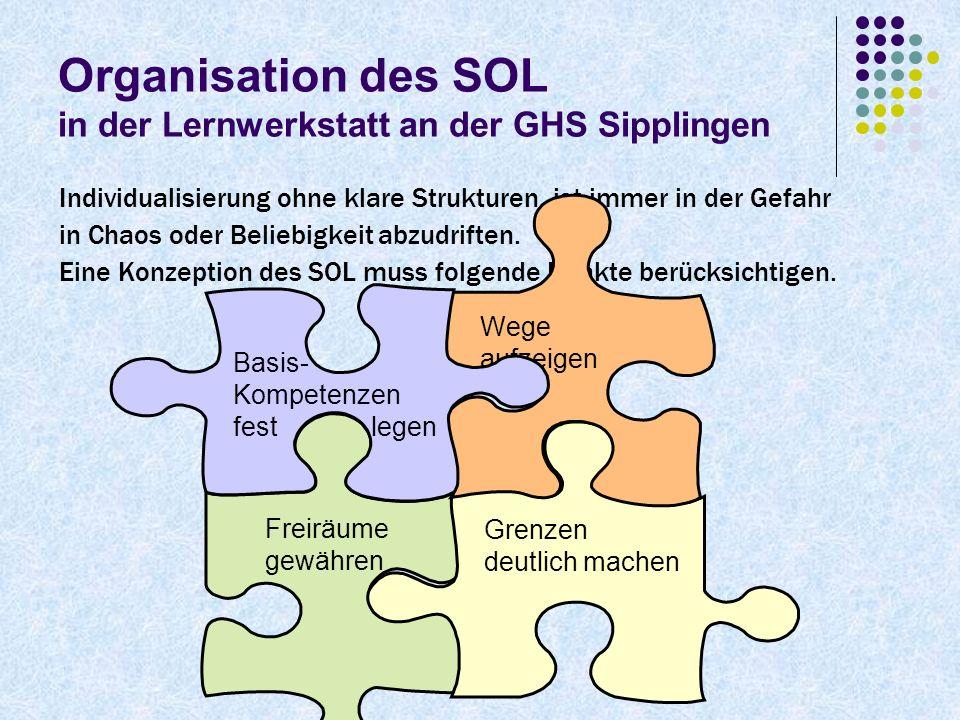 Organisation des SOL in der Lernwerkstatt an der GHS Sipplingen