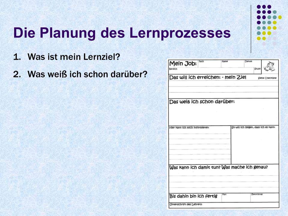 Die Planung des Lernprozesses