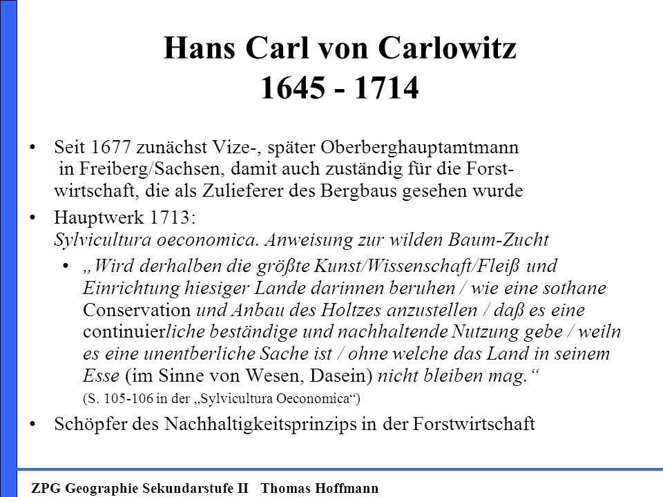 Hans Carl von Carlowitz 1645 - 1714