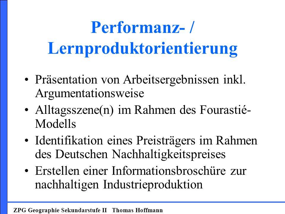 Performanz- / Lernproduktorientierung