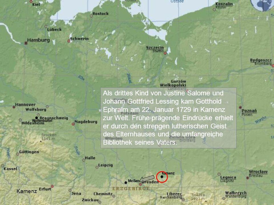 Als drittes Kind von Justine Salome und Johann Gottfried Lessing kam Gotthold Ephraim am 22. Januar 1729 in Kamenz zur Welt. Frühe prägende Eindrücke erhielt er durch den strengen lutherischen Geist des Elternhauses und die umfangreiche Bibliothek seines Vaters.