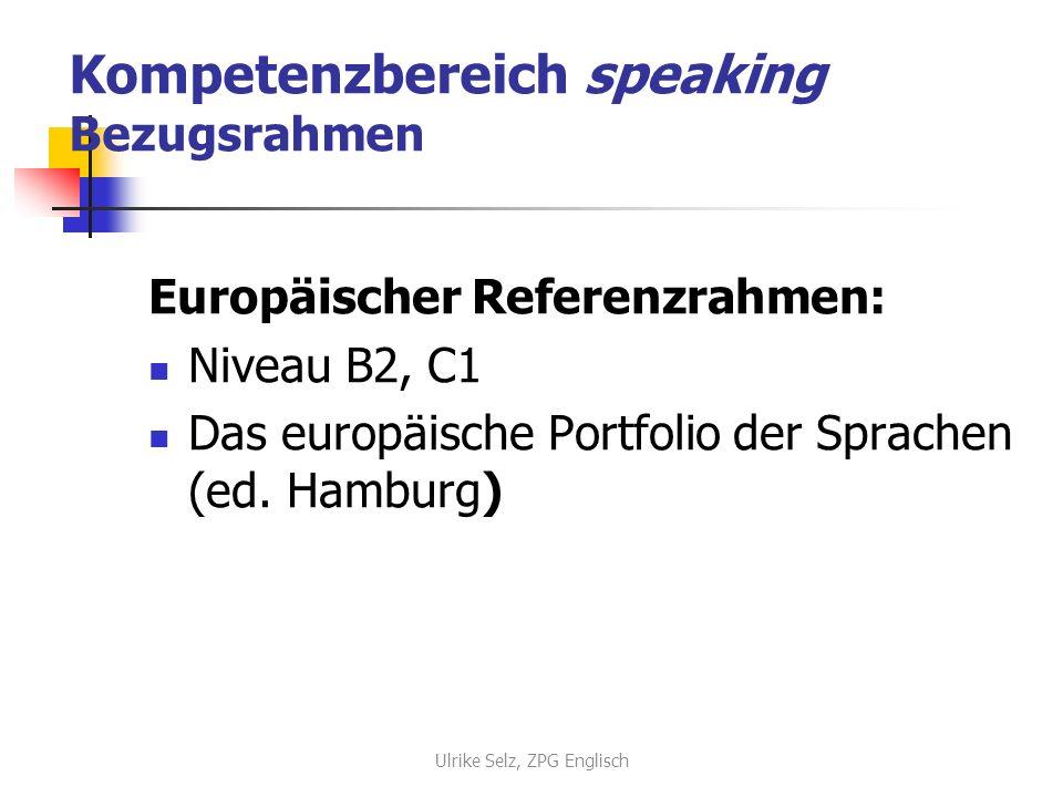Kompetenzbereich speaking Bezugsrahmen