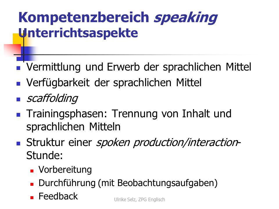 Kompetenzbereich speaking Unterrichtsaspekte