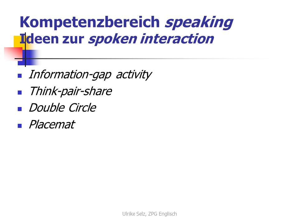 Kompetenzbereich speaking Ideen zur spoken interaction
